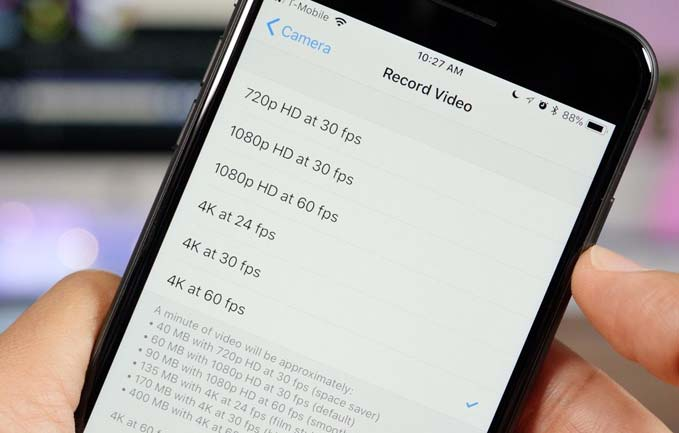 record high resolution video on iphone 8
