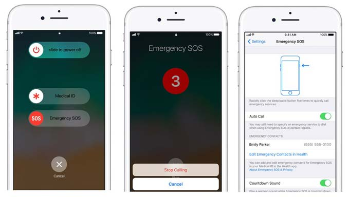 enable emergency sos on iphone 8